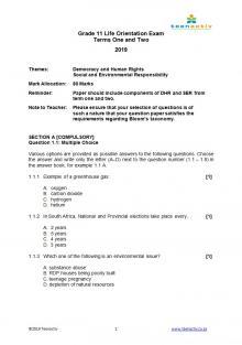 Grade 11 DHR SER Term 1&2 Exam Questions & Memo (2015-2019