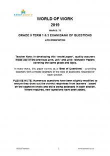 Grade 9 WOW Term 1&2 Exam Questions & Memo (2015-2019) | Teenactiv